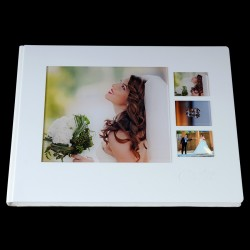Снежнобял плексиглас, кожа и четири снимки под оргстъкло ФБ-10