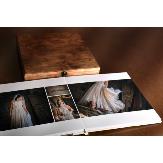 Дървена корица с гравиране + дървена кутия с метален обков ФБ-16