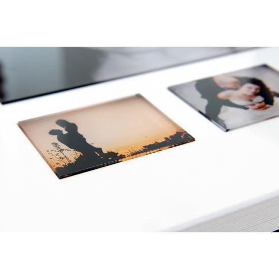 Корица от бял плексиглас, кожа и три снимки под оргстъкло ФБ-09